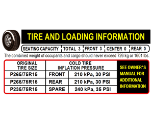 TIRE AND LOADING LABEL W/O VIN